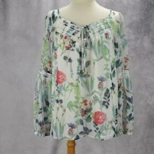 Tommy Hilfiger Womens Floral Sheer Peasant Blouse